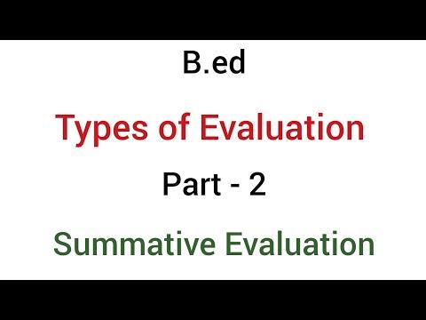 Part - 2 Summative Evaluation   Types Of Evaluation   B.ed
