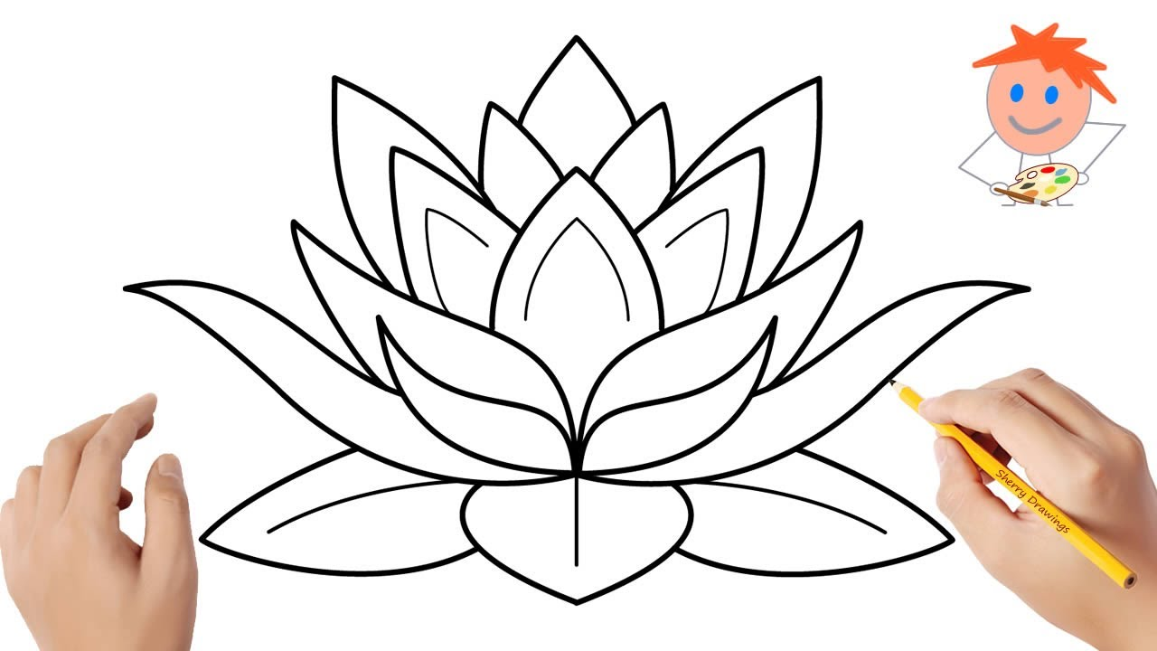 How to Draw a Lotus Flower Easy Step by Step   Drawing for ...