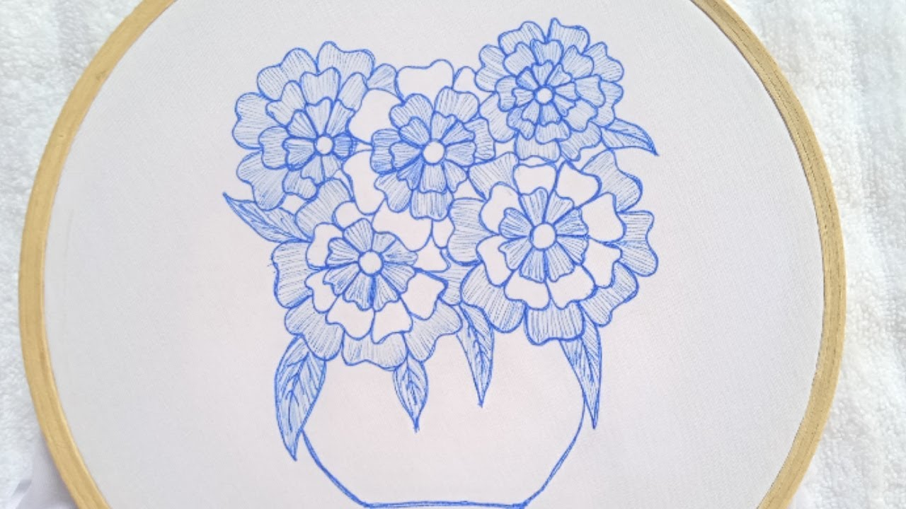 Hand Embroidery Beautiful Flowers Tutorial_Very Easy Hand Embroidery Flower Design Stitches