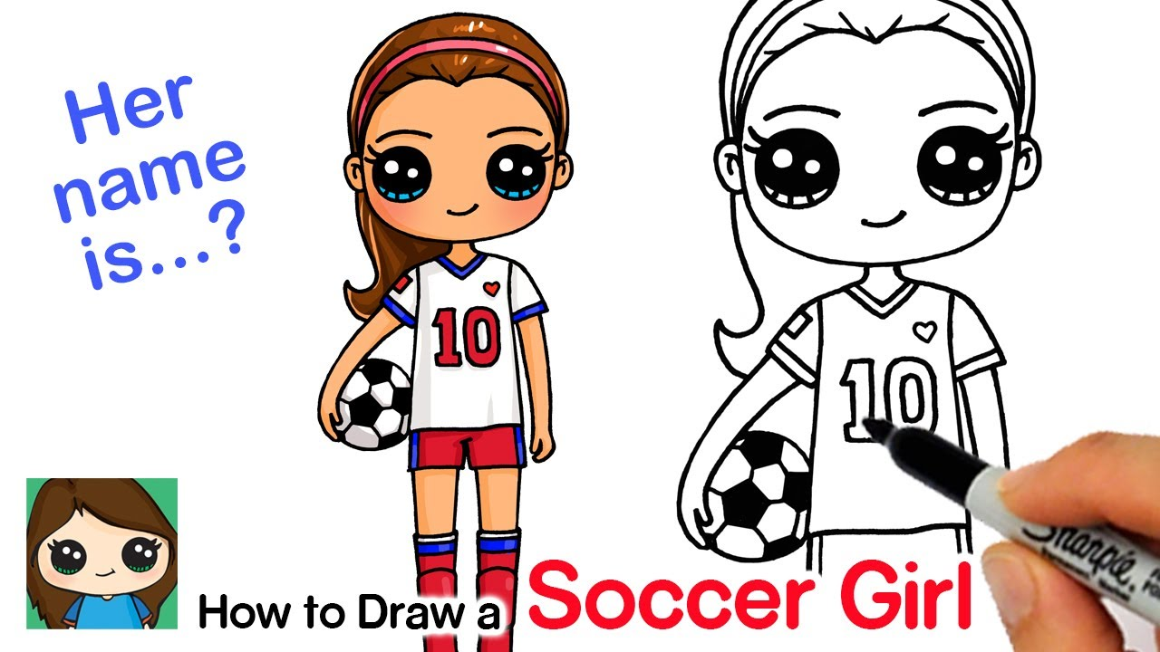 How to Draw a Soccer Player Cute Girl - YouTube