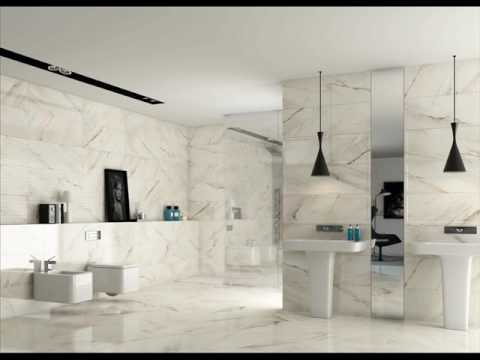 Large White Wall Tiles With Grey Grout Youtube