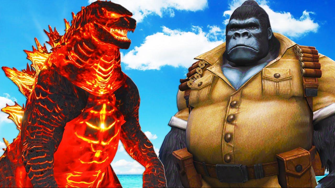 GODZILLA FIRE VS GORILLA-MAN - MONSTER BATTLE