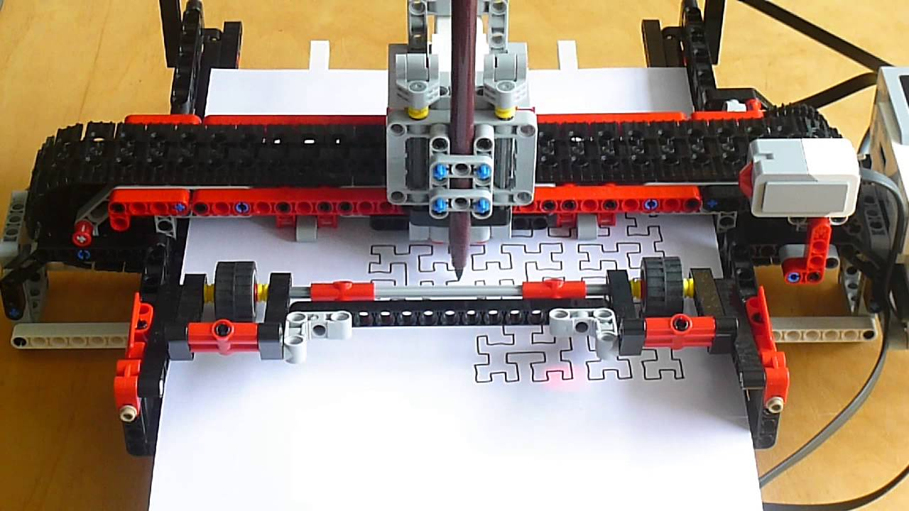LEGO Mindstorms EV3 plotter drawing a Hilbert Curve - YouTube
