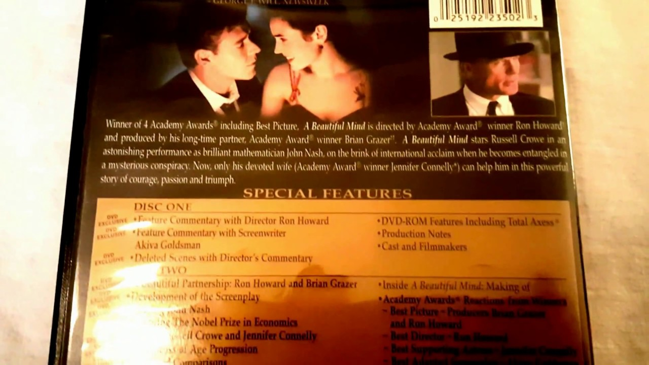 A Beautiful Mind Movie Russell Crowe DVD Back Cover Ron Howard