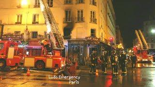 Pompiers de Paris incendie appart ( Paris Fire Dept on scene Apartment Fire March 11, 2019