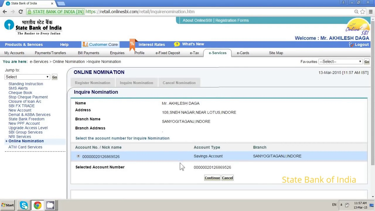 how to register nominee online for your sbi bank account using