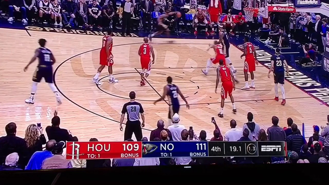 1/26/18 Final Minutes of Pelicans vs Rockets [Demarcus Cousins Injury