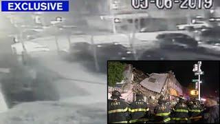Exclusive video shows building collapse after car crash