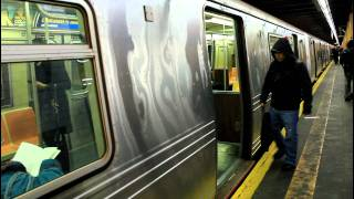 BMT Subway: R160 (N) and R46 (R) trains at 59th Street (Brooklyn)