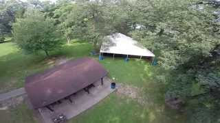 Aerial view of 40' x 60' Losberger event tent in Iowa City, IA