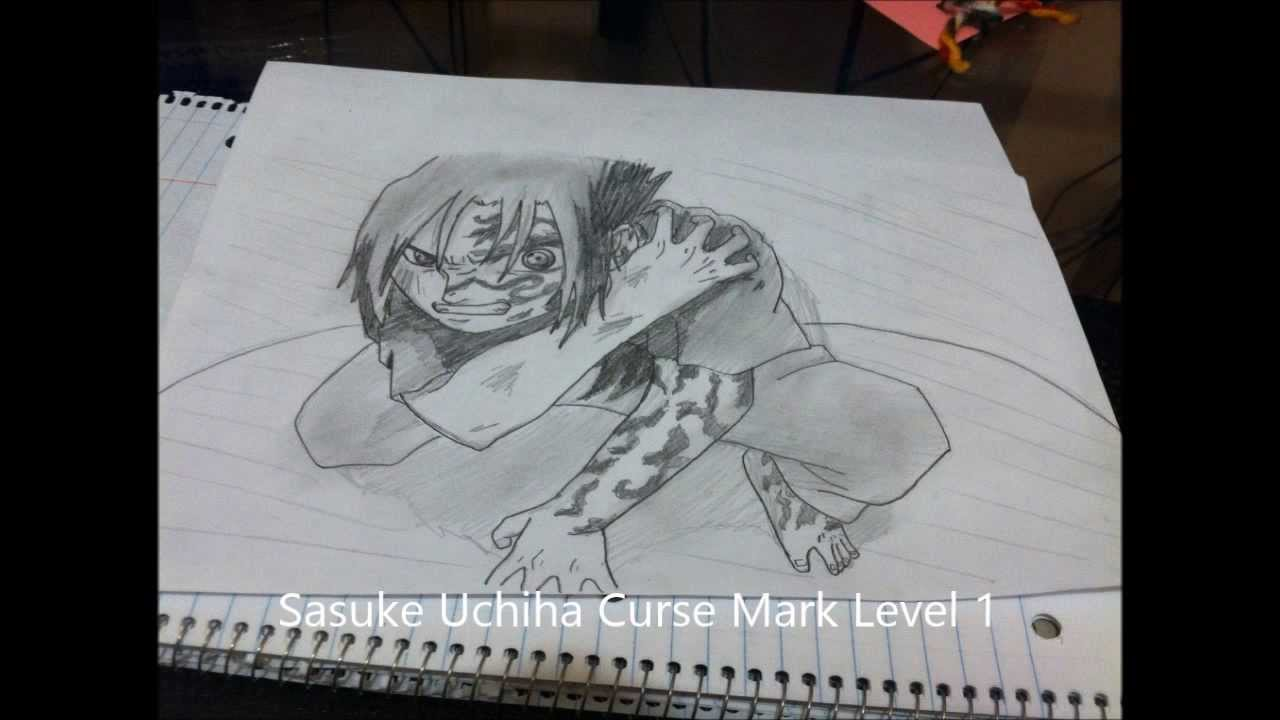 how to draw sasuke uchiha curse mark level 1 naruto うちはサスケ
