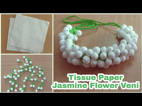 How To Make Jasmine Flowers with Tissue Paper   DIY   Jasmine Veni   Hair Accessories