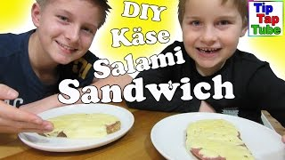 Käse Salami Sandwich Ash und Max Spezial DIY Sandwich selber machen Food Video Kinderkanal