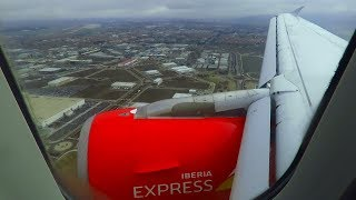 Iberia Express Airbus A320 ONBOARD Landing at Cloudy Madrid Barajas Airport MAD