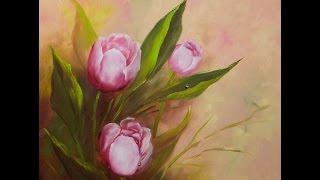 Fundo de tela para pintar Tulipas por Shirley Sbeghen