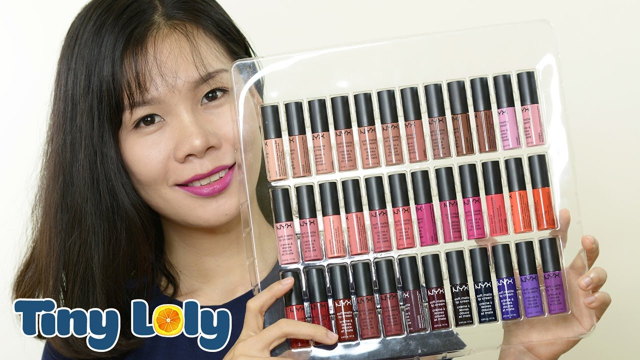 Swatch + Review son kem NYX soft matte lip cream FULL 36 màu | Tiny Loly
