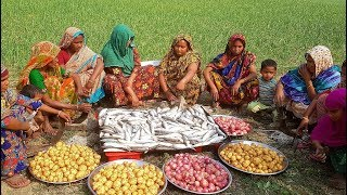 300 labeo bata fish curry cooking for 300 village people by 15 women fish fest