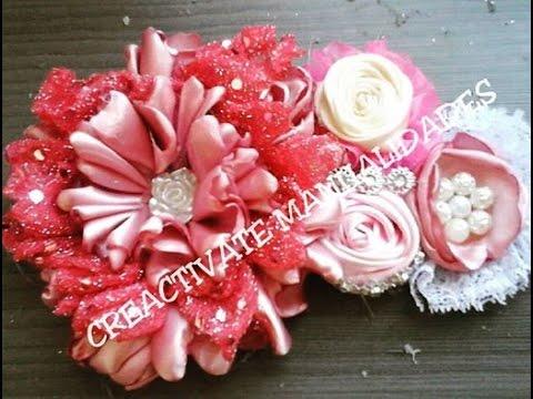 Tocado elegante con flor rosal rosas de liston flores de - Manualidades de tela faciles ...