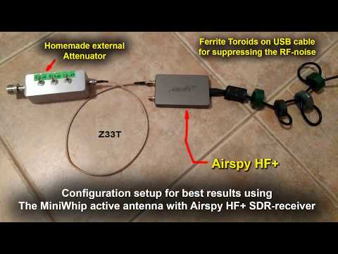 Airspy HF+ SDR Receiver with Mini-Whip Active Antenna and External Attenuator