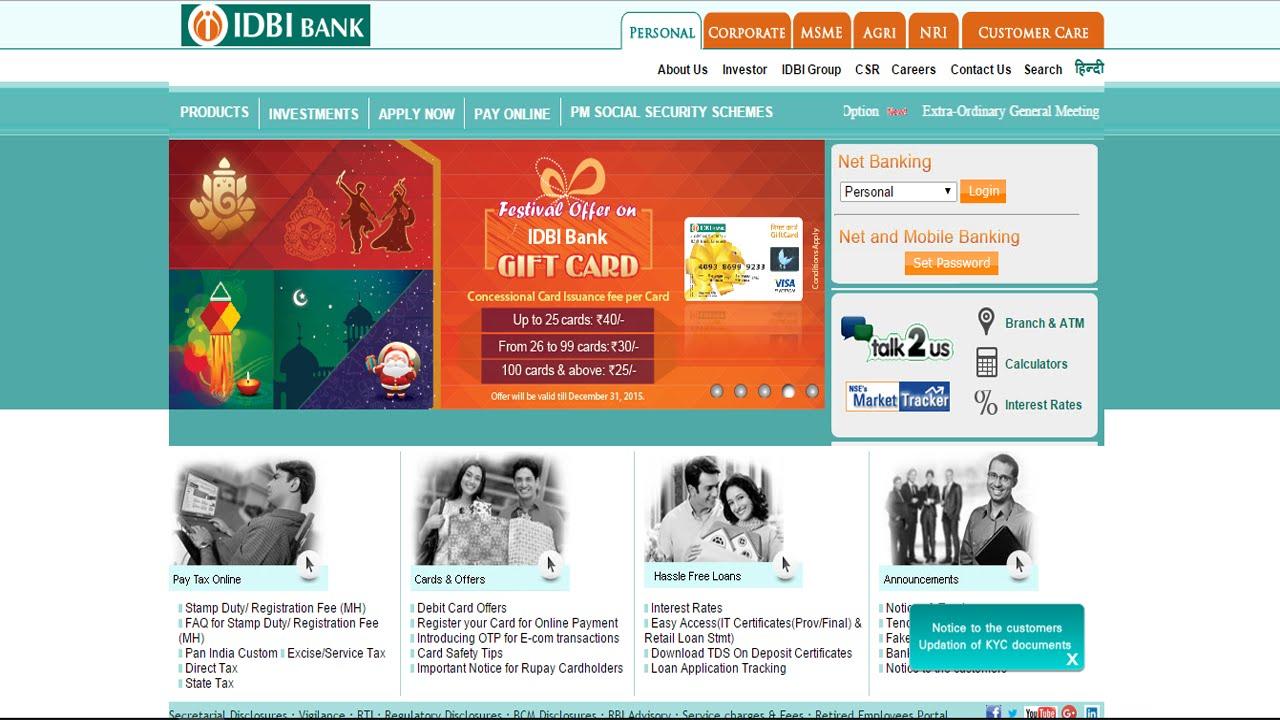 idbi bank password reset