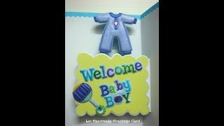 New baby boy pop up card