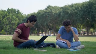 Young college students working hard for their final semester exams - education concept