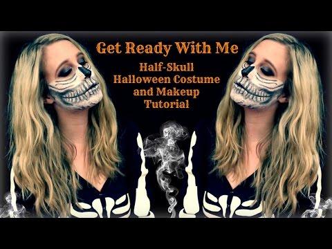 GRWM | Half Skull Makeup Tutorial and Costume thumbnail