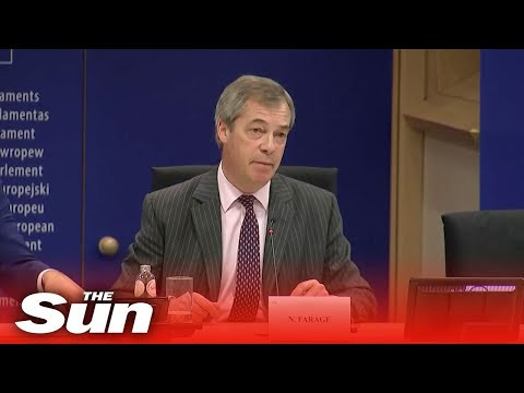 Brexit Party leader Nigel Farage holds a news conference ahead of a vote in the European Parliament