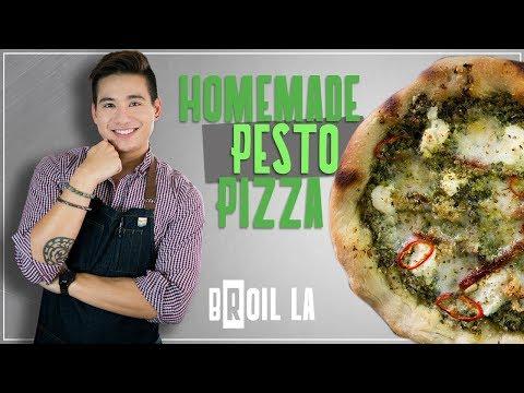 Vegetarian Homemade Pesto Pizza