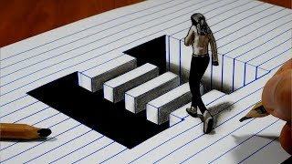 3D Trick Art on Line Paper   Girl in the Floating Crosswalk   Optical Illusion
