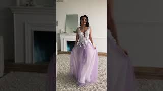 G 2309 Платье вечернее с 3D-лепестками вышитыми вручную из нескольких слоев легкой сетки video