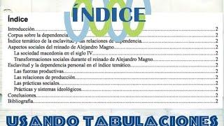 Elaborar un índice con tabulaciones para tesis y trabajos escolares thumbnail
