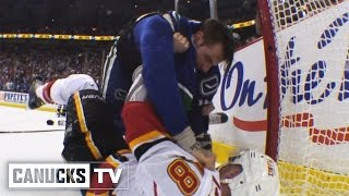Repeat youtube video Canucks vs Flames Multiple Fights in 3rd Period (Apr. 17, 2015)