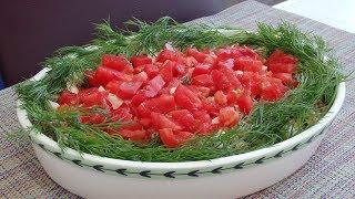 """Салат """" Красная шапочка"""". Интересный салат с пекинской капустой и помидорами."""