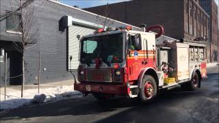 FDNY SATELLITE 3 RESPONDING INTO 7 ALARM WAREHOUSE FIRE IN WILLIAMSBURG, BROOKLYN IN NEW YORK CITY.