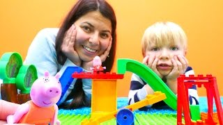 Eğitici çocuk oyunları - Domuz ailesi için oyun parkı yapıyoruz. Lego oyuncakları ile eğlence!