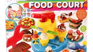 Food Court Set Cooking Machine Play Doh Toy Food DIY Make Ice Creams Waffles Desserts & More Food