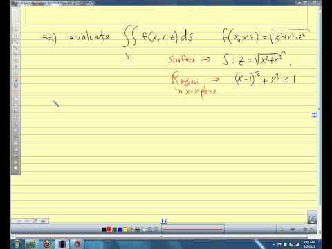 Calc III 2013 15.6 Surface Integrals on Scalar Fields
