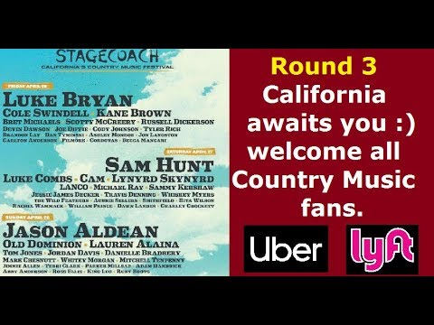Stagecoach California's Country Music Festival. Uber, Lyft and TCP.