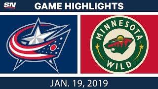 NHL Highlights | Blue Jackets vs. Wild - Jan. 19, 2019