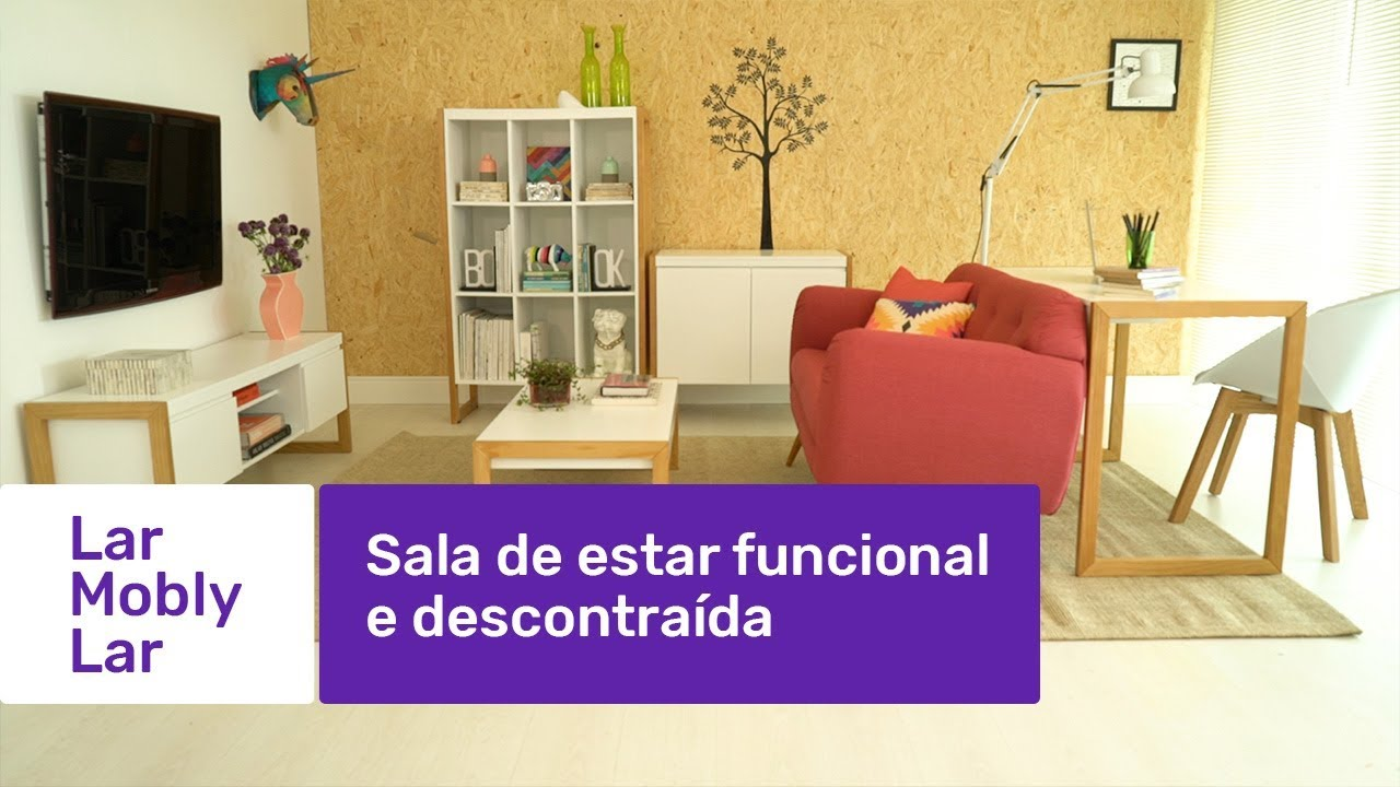 Sala de estar funcional e descontra da lar mobly lar for Sala de estar 16m2