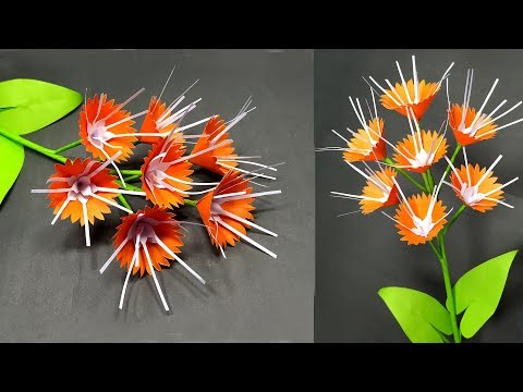 Handcraft with Paper: DIY Paper Stick Flower Making Beautiful Idea | Abigail Paper Crafts