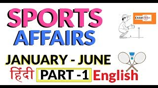 MOST IMPORTANT SPORTS CURRENT AFFAIRS 2018 (JANUARY - JUNE) ||  हिंदी /English भाषा -करेंट अफेयर्स