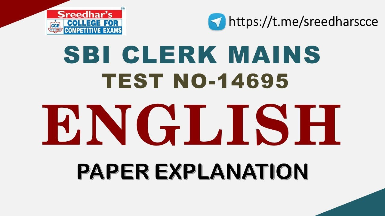 SBI CLERK MAINS TEST NO 14695 ENGLISH - YouTube