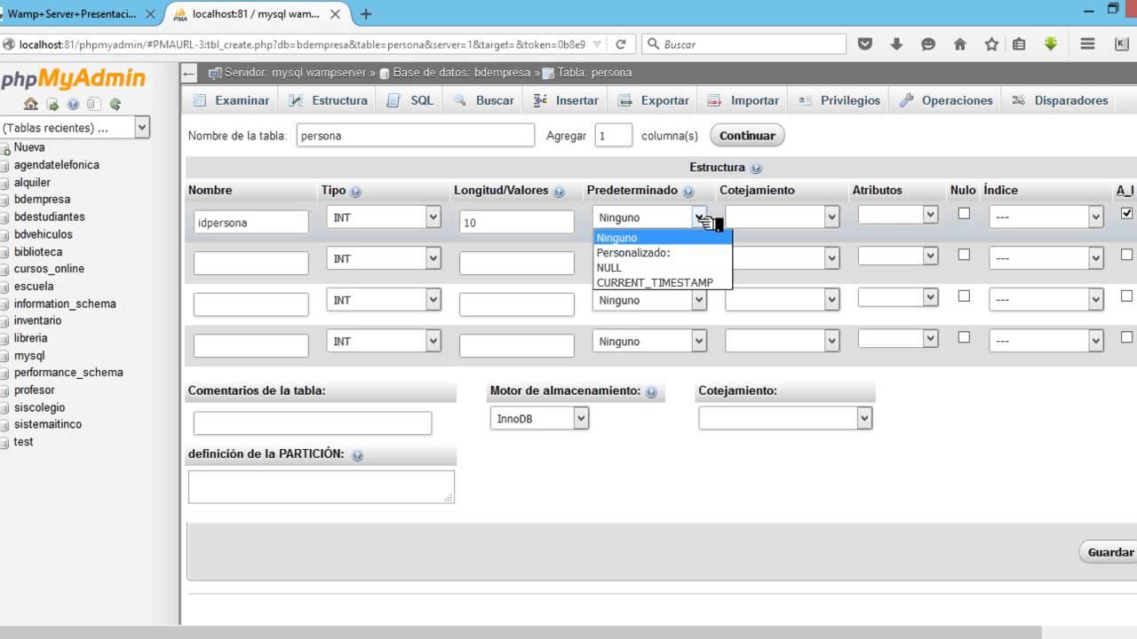 como crear una base de datos en phpmyadmin