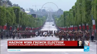 Hollande arrives at Arc de Triomphe for VE Day ceremony