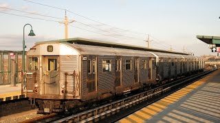 Old Subway Trains on the JZ Line in Brooklyn, New York