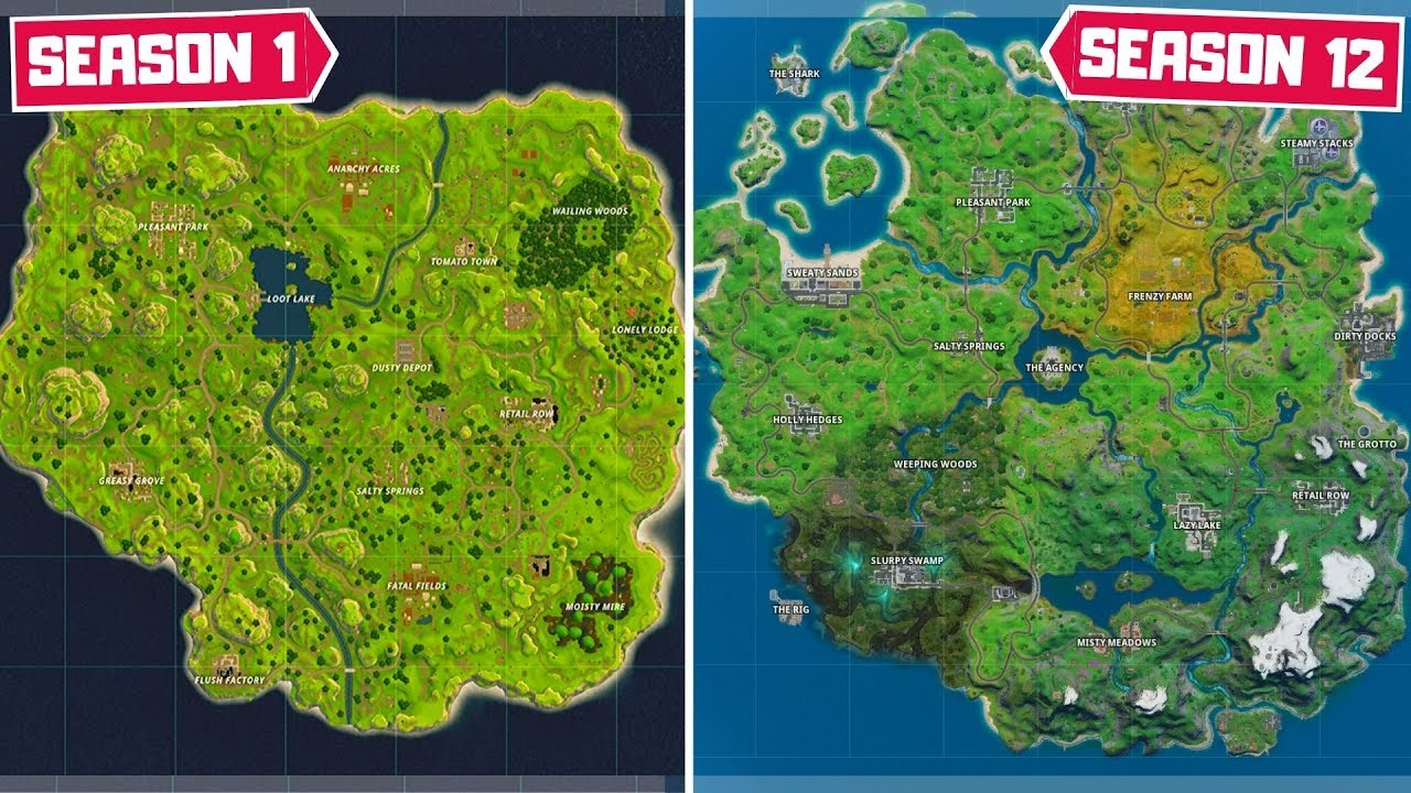 Evolution Of The Entire Fortnite Map Chapter 1 Season 1 Chapter 2 Season 2 Youtube