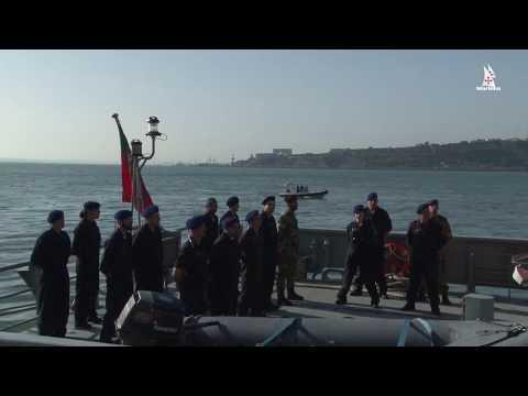 Largada do NRP Tejo, para primeira missão Frontex em Itália.