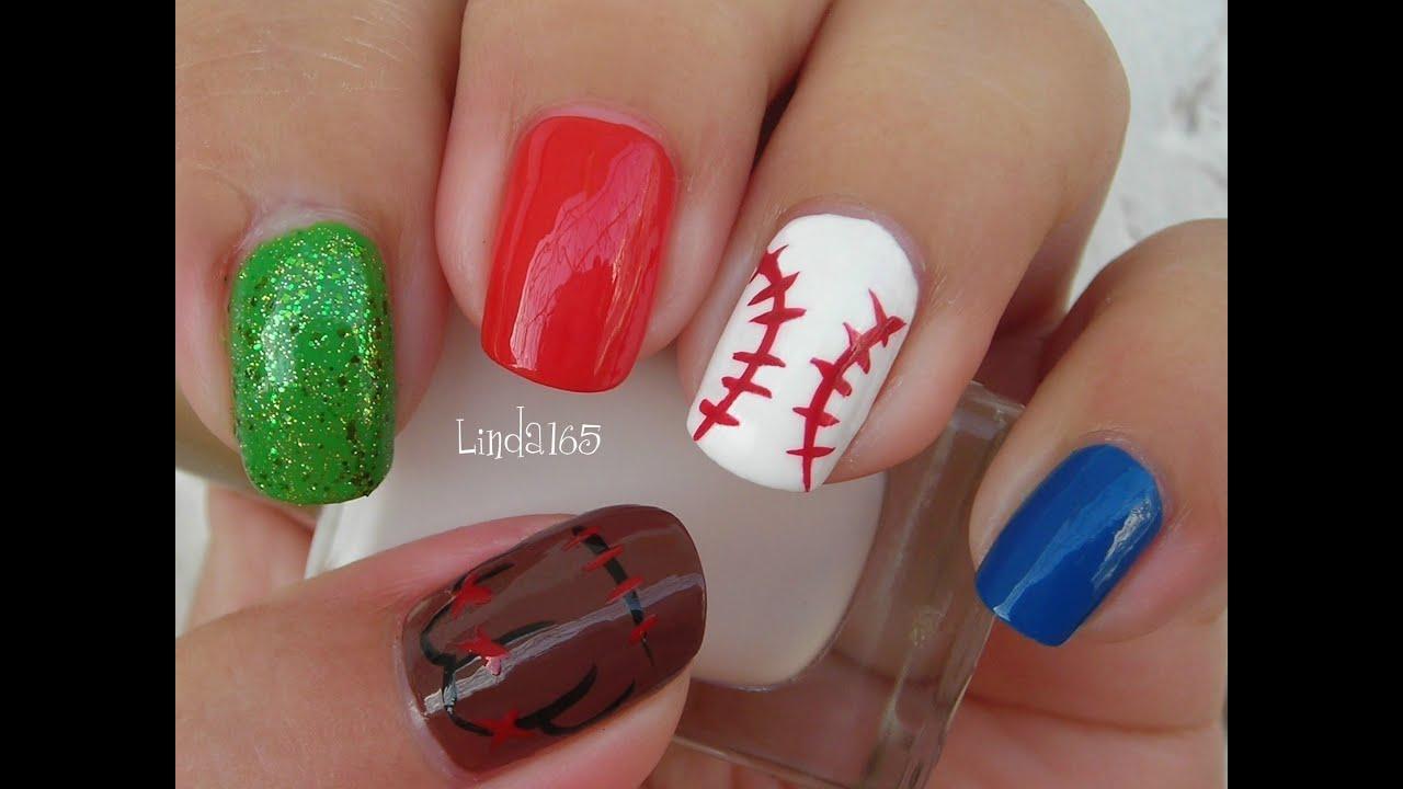 nail art baseball nails uas de beisbol decoracin de uas youtube
